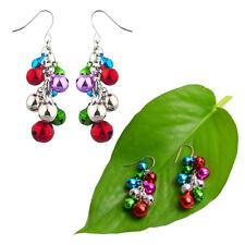 1pair Women Silverstone Jingle Bells Chandelier Christmas Earrings Xmas Gifts