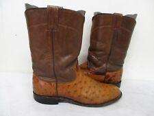Larry Mahan Cognac Full Quill Ostrich Leather Cowboy Roper Boots Mens Sz 8.5 B