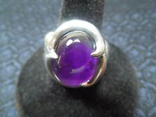 "Sterling Silver Mystic ""Crystal Ball"" Amethyst Cabachon Ring, Size 9, 11g"