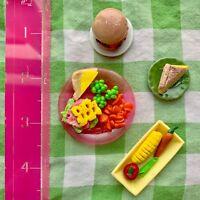 2 Dollhouse Miniatures Spaghetti and Vegetable Salad on Plate 2.50 cm Food 8