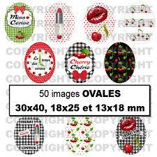 50 Images digitales pour bijoux cabochon Cerises rouge rétro OVALES