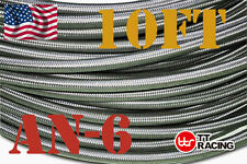 """3/8"""" AN6 Stainless Steel Braided Fuel Oil Gas Line Hose -6AN 10FT"""