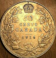 1916 CANADA SILVER 50 CENTS COIN - Nicer example!