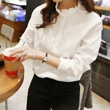 Korean Women Ladies White Button Down Shirt Long Sleeve Ruffle Collar Blouse Top
