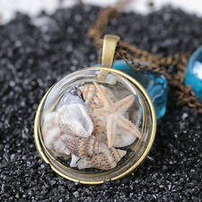 Ocean Beach Glass Conch Necklace For Women Gift Starfish Shells Pendant