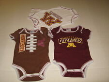 Three pc Set Minnesota Golden Gophers Baby Bodysuits New Nwt 3 - 6 Months