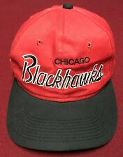 VINTAGE 90s CHICAGO BLACKHAWKS SCRIPT SEWN SNAPBACK HAT CAP SPORTS SPECIALTIES