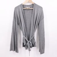 LOFT Womens S Gray Knit Belted Open Front Cardigan Autumn Career Bell Sleeve