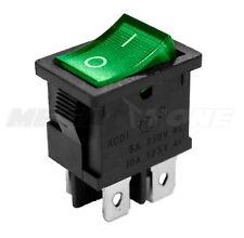 DPST KCD1 Mini Rocker Switch On-Off w/Green Lamp 6A/250VAC T85 - USA SELLER!!!