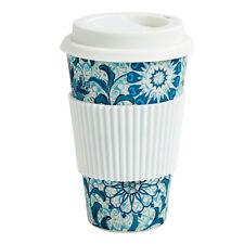 NORDAL Kaffeebecher Coffee to Go Bambus blau geblümt