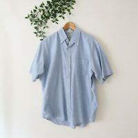 Vintage L.L. Bean Men's Made In USA Short Sleeve Button Front Shirt Size 17 Blue