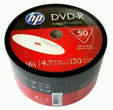 50 HP Blank 16X DVD-R DVDR White Inkjet Hub Printable 4.7GB Media Disc