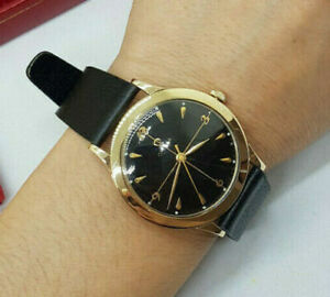 1962 OMEGA SOLID 14K GOLD BLACK DIAL MANUAL WIND CAL:371 MAN'S WATCH & BOX