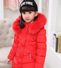 7688 Kids Girls WINTER Padded Warm Coat Jacket Fur Collar Outerwear S4-12Y gift