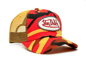 Authentic Brand New Von Dutch Tange Orange Multi Camo Cap Hat Mesh Snapback