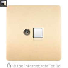 Trendi Modern Glossy TV Co-axial+PC RJ45 Cat 5e/6 Ethernet Socket Champagne Gold