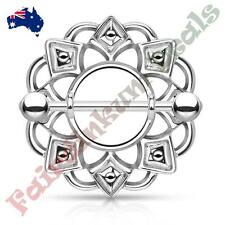 316L Surgical Steel Silver Ion Plated Tribal Nipple Shield Ring