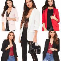 Womens Ladies Ruffle Frill 3/4 Sleeve Blazer Duster Coat Open Front Jacket Top