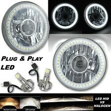 "5-3/4"" Projector White SMD Halo Angel Eye Crystal Headlight & 6k LED Bulb Pair"