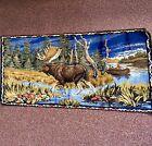 Vintage Moose Velvet Velour Wall Tapestry Art