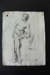 FLEMISH SCHOOL 1852 - FINE STUDY MALE NUDE SIGN. HUYSMANS - CHARCOAL DRAWING