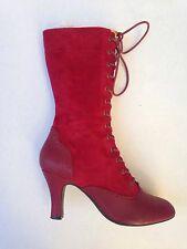 Miss L Fire Epoque EU 40/US 9 Red Suede/Leather Lace Up Calf Witchy Wingtip Boot