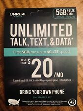 UNREAL MOBILE 3-MONTH SIM KIT 5GB 4G/MONTH BRAND NEW UNOPENED FREE SHIPPING