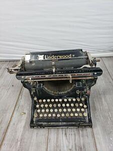 "Underwood  Vintage 1915 Manual Typewriter Glossy Black Gold Lettering No. 3 12"""