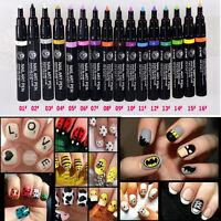 DIY Design 16Color Manicure Tools Women Delicate Beauty Polish Nail Art Pens