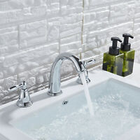 Bathroom Basin Faucet Waterfall Sink Mixer Tap Chrome Finish Widespread 3 Holes