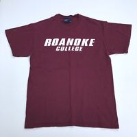 Vintage American Graphic Printed T-Shirt Roanoke College Medium M Purple (TS001)