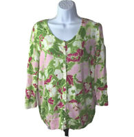 Womens Talbots Size Large Cardigan Sweater Green Pink White Floral Top Button Up