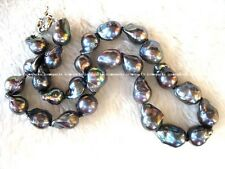 "freshwater pearl black drop reborn keshi necklace 17"" wholesale bead nature gift"