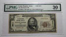 $50 1929 Cedar Rapids Iowa IA National Currency Bank Note Bill #2511 VF30 PMG!