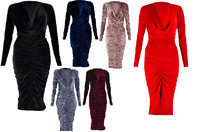 Ladies Velvet Plunged V-Neck Ruched Front Bodycon Evening Dress UK Size 8-26