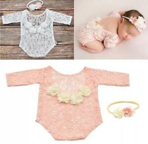 UK Newborn Baby Girl Photography Props Lace Rompers Headband Photo Shoot Costume