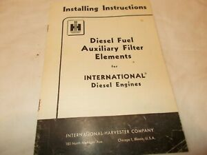 Diesel Fuel Auxiliary Filter Elements for Diesel Engines Install Instructions