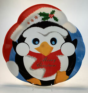 """14"""" Merry Christmas Cookie Serving Tray with a Penguin Design"""