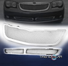 2004-2008 CHRYSLER CROSSFIRE MAIN UPPER+BUMPER STAINLESS MESH GRILLE CHROME 3PCS
