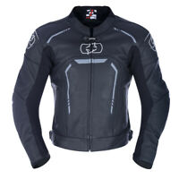 Oxford Strada Men's Leather Sports Motorcycle Motorbike Jacket - Black