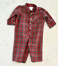 Polo Ralph Lauren Baby Boy One Piece Romper Christmas plaid Red Green Sz 6 Mo