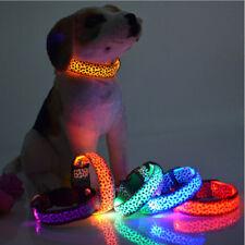 Pets Dog Collar LED Flash Leopard Pattern Neck Strap Puppy Night Safety Necklace