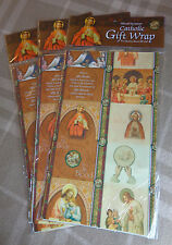 """Catholic Gift Wrap/Religious Wrapping paper: 28'' x48"""" Lot of Three: Brand New"""