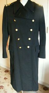 Vintage military navy officer great coat dated 1965 black wool gold braid 42""
