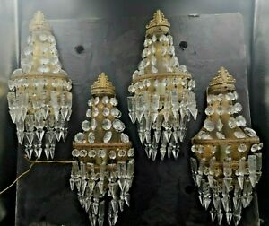 Set of 4 French Crystal basket Prisms Bronze Sconces Empire Style n°1