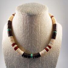 Shell Turquoise Bead Collar Necklace Fine Santo Domingo Pueblo Indian Heishi