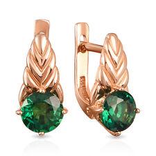 NEW Russian Solid Rose Gold Earrings 14K fine jewelry emerald green stone 2.59g