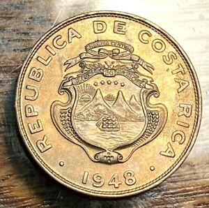 1948 Costa Rica 25 Centimos Gem Uncirculated Nice Toning KM 175 CHN
