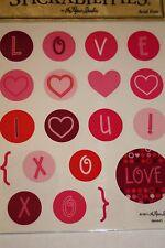 2 Sheets 38pc Love Heart Pink Purple XOXO Scrapbooking Stickers 567