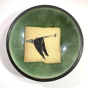 "Sam Taylor Dogbar Pottery Bowl Flying Bird Wood Fired Studio Handcrafted 9"""